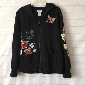 Disney resort black Mikey roses tattoo hoodie XL
